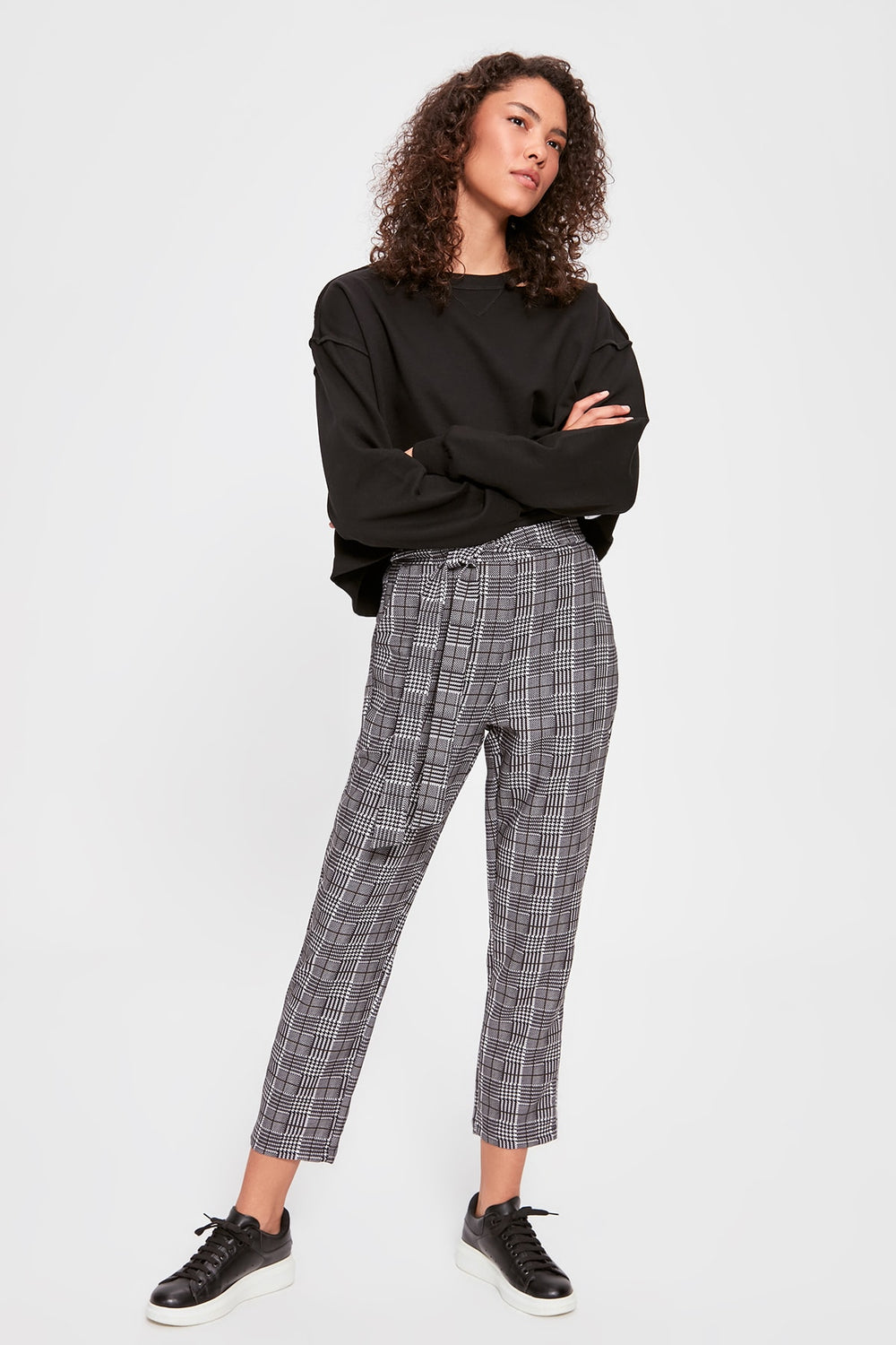 Miss Zut Miss Zut Gray Lacing Detailed Plaid Pants Miss Zut &CO