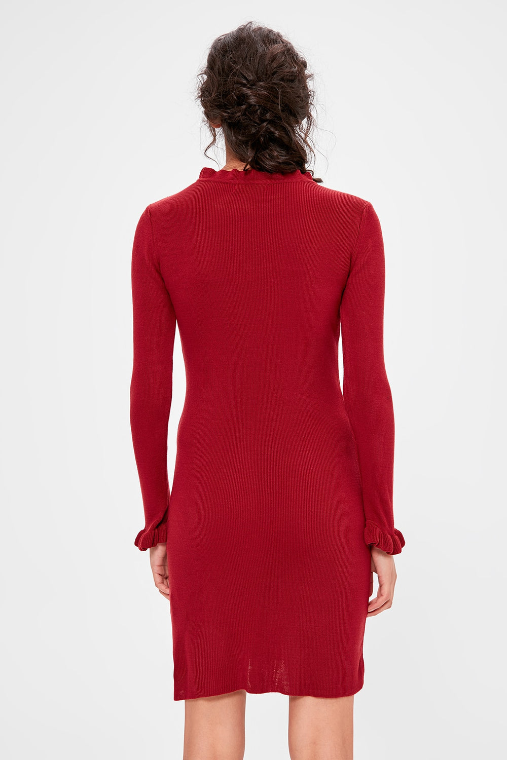 Miss Zut Miss Zut Burgundy Sleeve And Colar Flounces Sweater Dress Miss Zut &CO