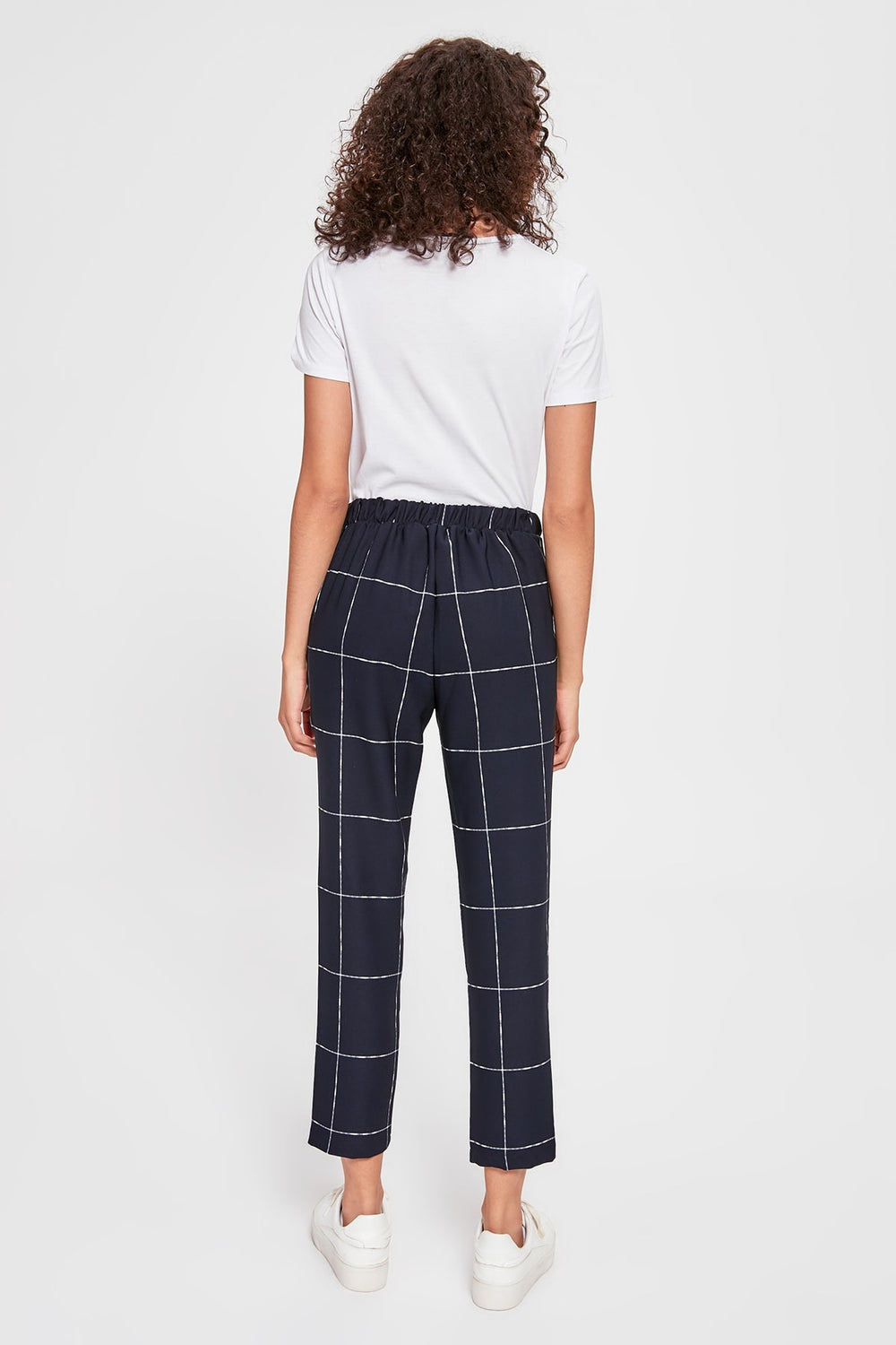 Miss Zut Miss Zut Dark Blue Lacing Detailed Plaid Pants Miss Zut &CO