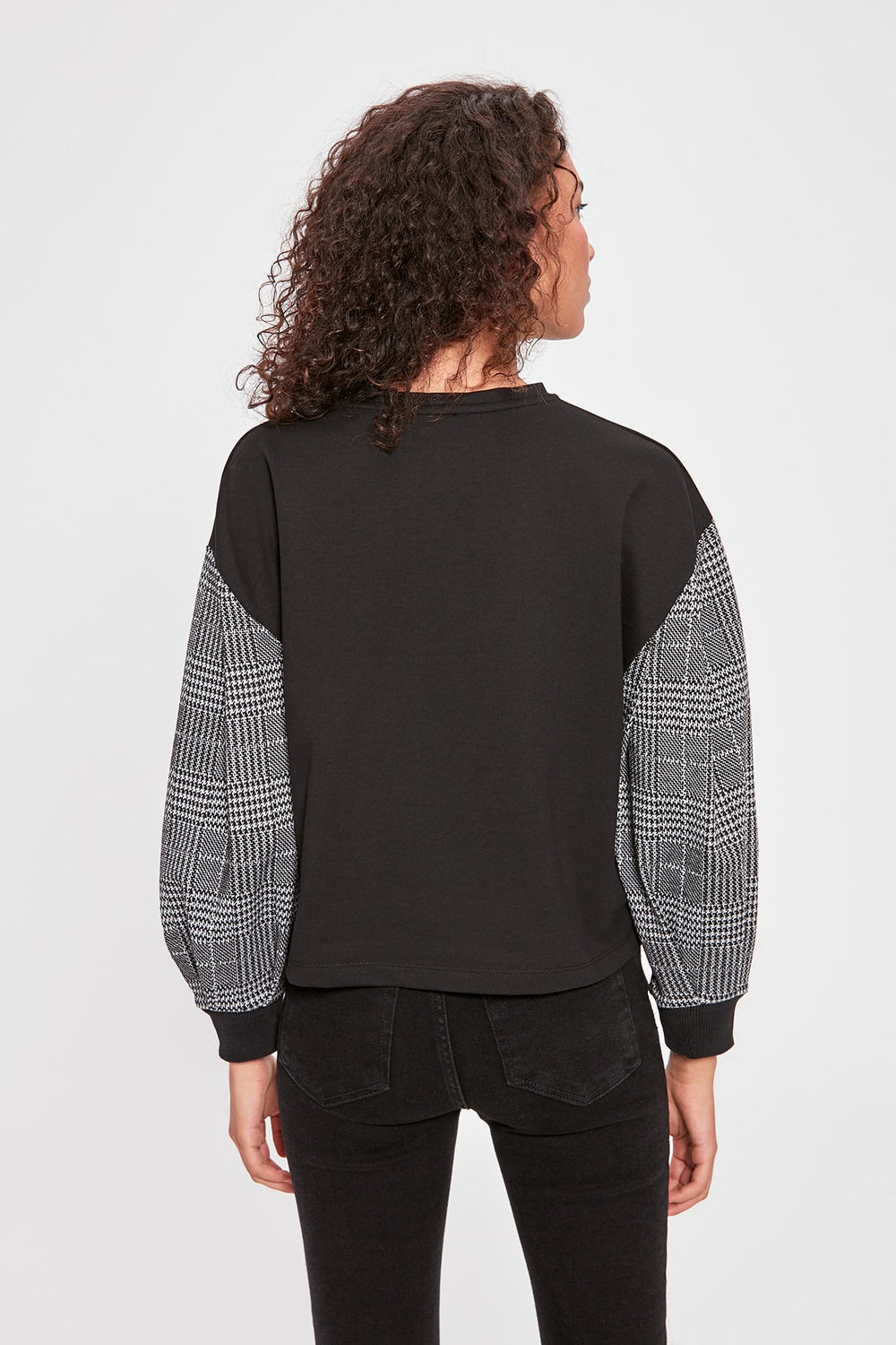 Miss Zut Miss Zut Black Plaid Detailed Basic Knitted Sweatshirt Miss Zut &CO