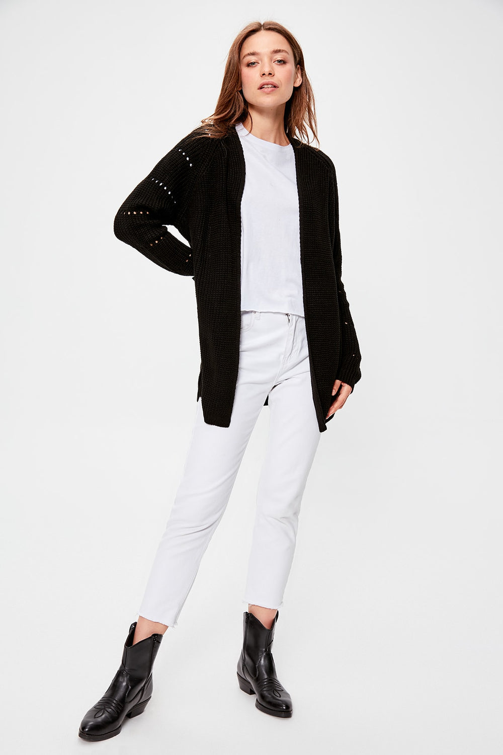 Miss Zut Miss Zut Black Sleeve Detail Sweater Cardigan Miss Zut &CO