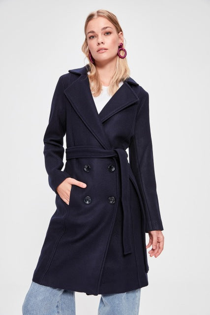 Miss Zut Miss Zut Front Button Arched Wool Stamp Coat Miss Zut &CO