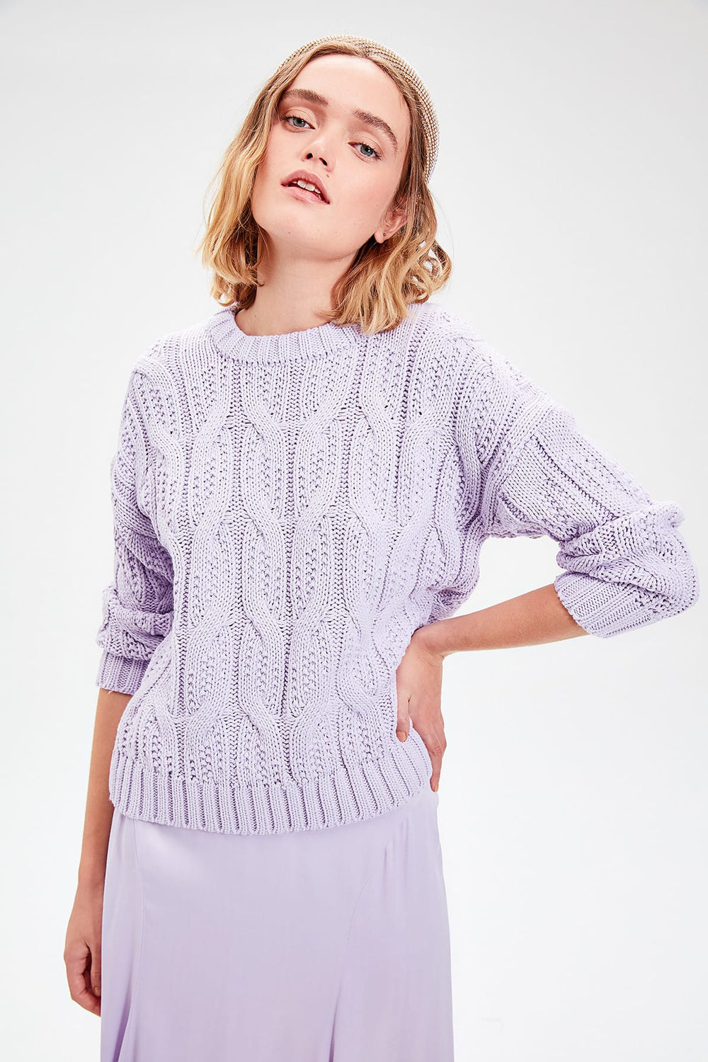 Miss Zut Miss Zut Lilac Hair Braided Knitwear Sweater Miss Zut &CO