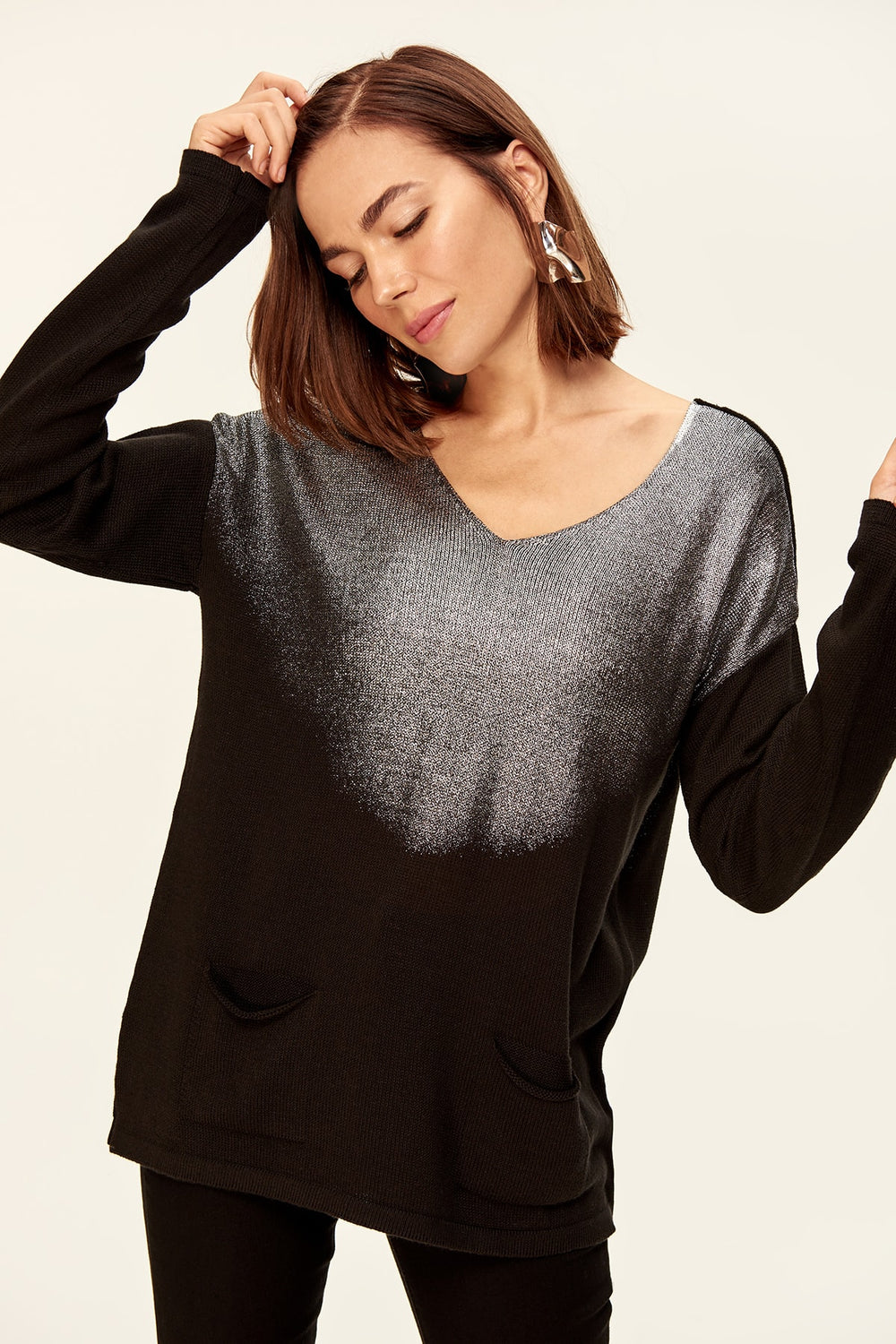 Miss Zut Miss Zut WOMEN-Black Leaf Sweater Miss Zut &CO