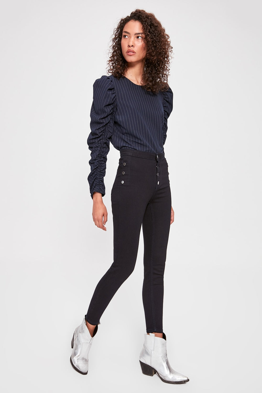 Miss Zut Miss Zut Button Detail High Waist Skinny Jeans Miss Zut &CO
