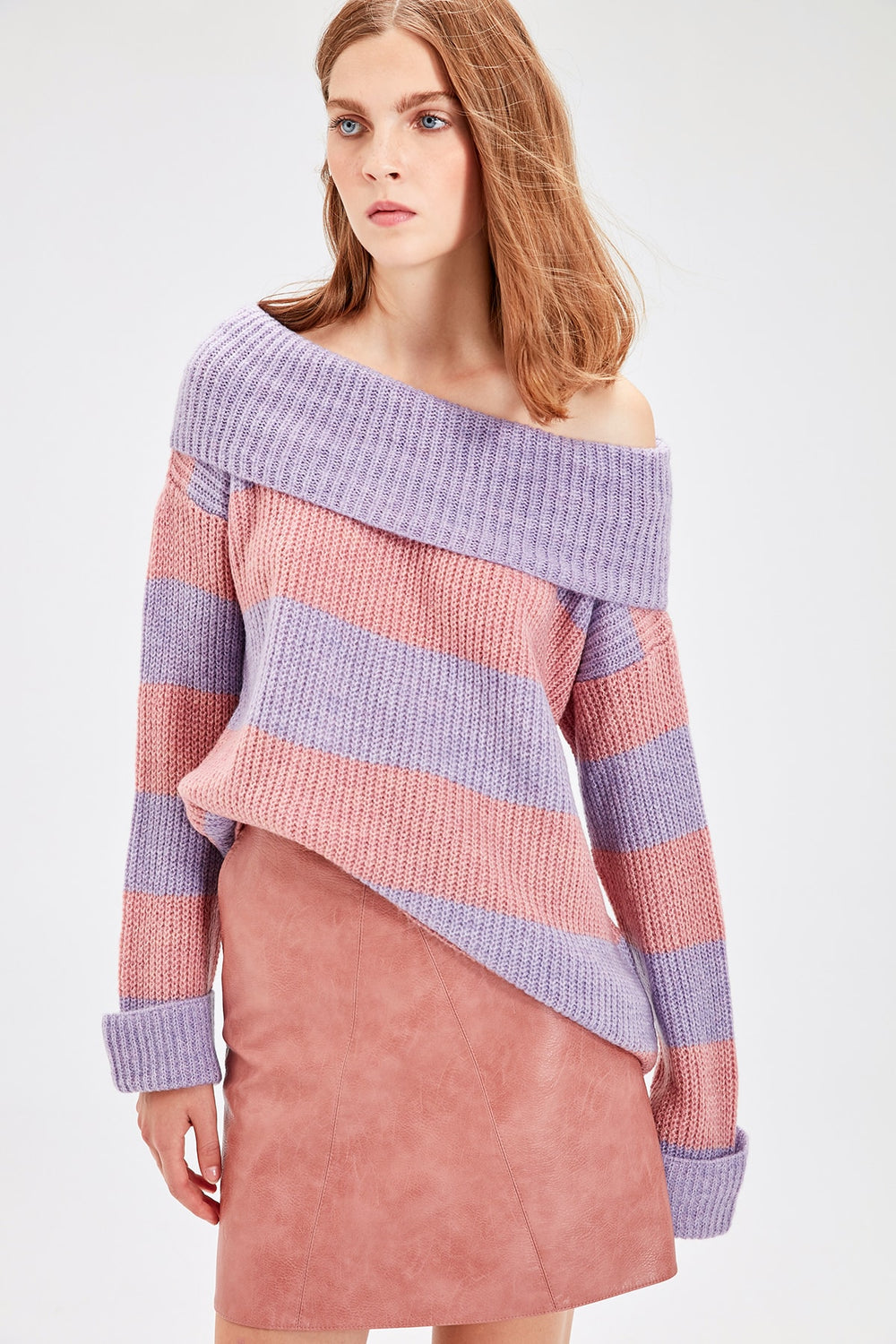 Miss Zut Miss Zut Color Rose Carman Collar Striped Sweater Sweater Miss Zut &CO