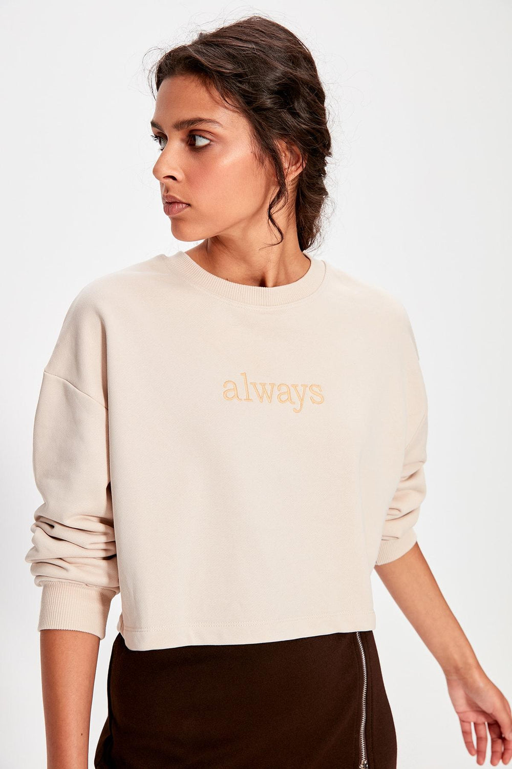 Miss Zut Miss Zut Beige Embroidered Crop Knitted Sweatshirt Miss Zut &CO