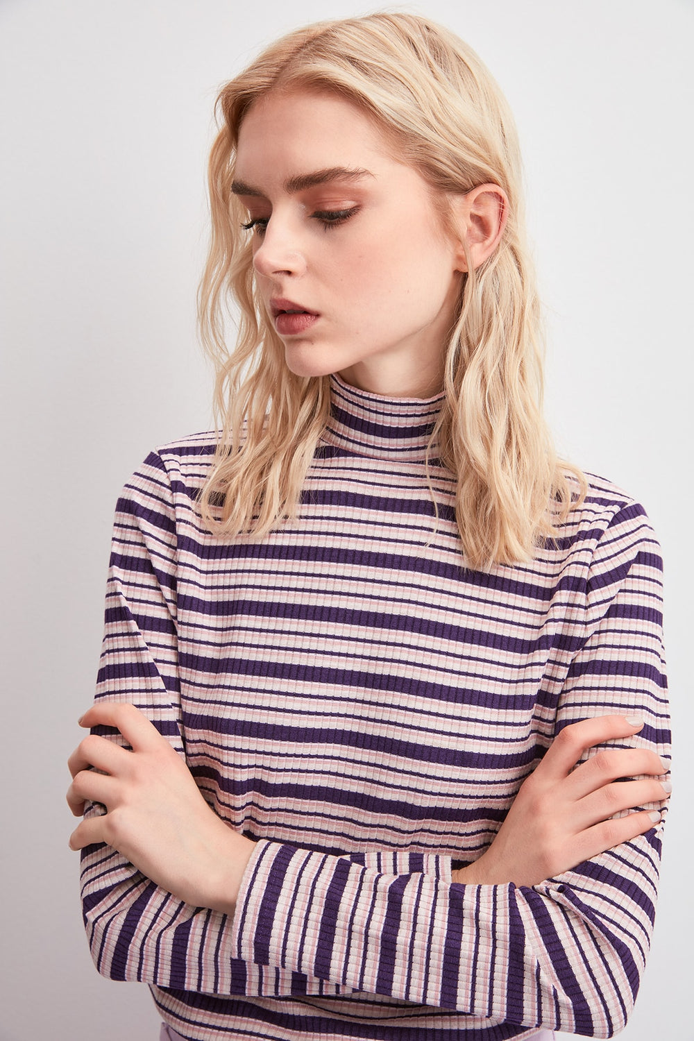 Miss Zut Miss Zut Upright Collar Striped Knitted Blouse Miss Zut &CO