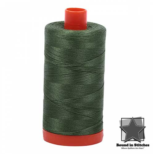 Aurifil Mako 50wt Cotton 1422 yd. (1300 m) spool - 2890 Very Dark Grass Green