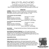 Bailey Island Hobo pattern back cover by Aunties Two  |  Bound in Stitches