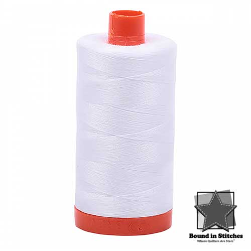 Aurifil 50 wt. Cotton Thread - White  |  Bound in Stitches