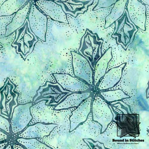Bali Batiks Christmas - Aqua Poinsettia by Hoffman Fabrics  |  Bound in Stitches