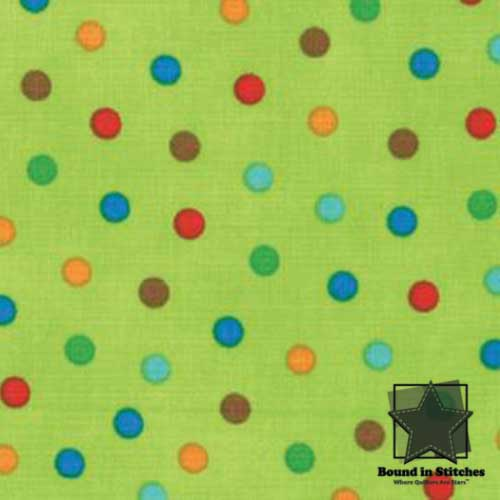 Moda Bungle Jungle - Lime Dots  by Tim & Beck