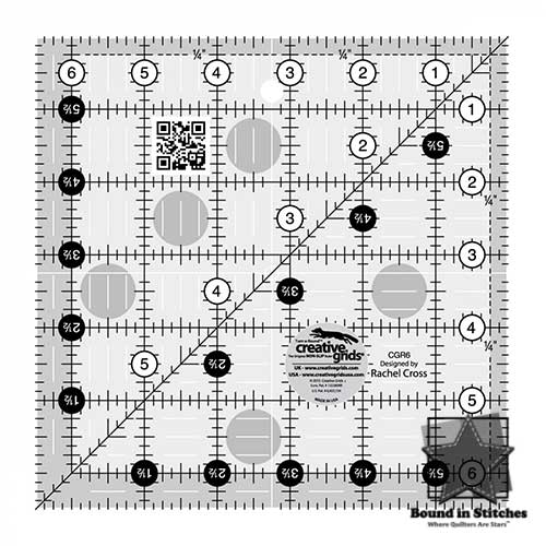 "Creative Grids Quilt Ruler 6-1/2"" Square   