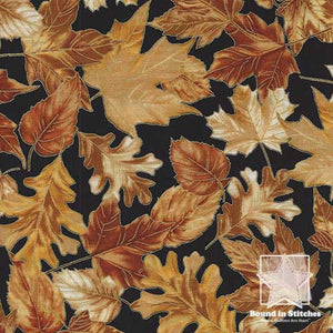 Timeless Treasures Harvest Autumn Tossed Leaves CM6444 - Black