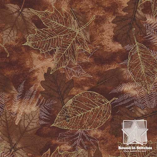 Timeless Treasures Harvest Fossil Leaf CM6445 Brown