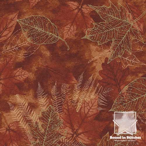 Timeless Treasures Harvest Fossil Leaf CM6445 Pumpkin