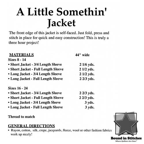 A Little Somethin' Jacket Fabric Supply List  |  Bound in Stitches