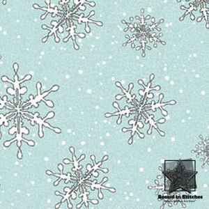 Fresh Fallen Snow Flannel - Blue Snowflakes - End of the Bolt 7/8 Inches