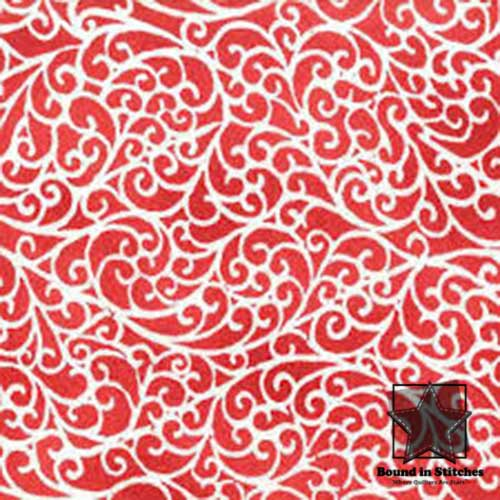 Maywood Studio Fresh Fallen Snow Flannel - Red Swirl