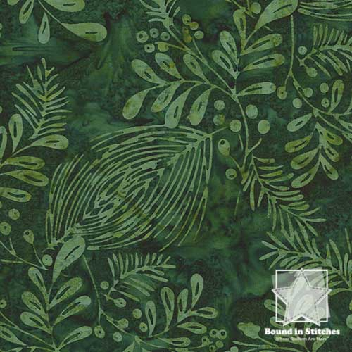 Hoffman Bali Batiks Christmas H2321-60 Pines & Mistletoe Hunter  |  Bound in Stitches