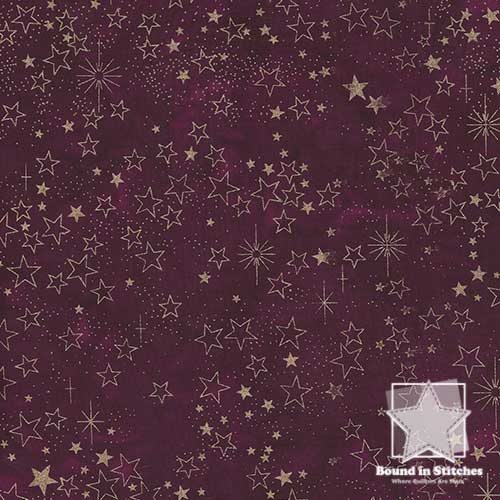 Bali Batiks Handpaint - Metallic Stars Berry/Gold by Hoffman Fabrics  |  Bound in Stitches