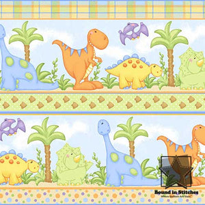 The Land Before Time Flannel 6325-11 Blue Dino Stripe by Shelly Comiskey  |  Bound in Stitches