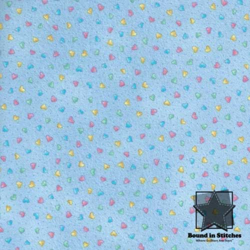 More Basically Baby Flannel - Blue Hearts by Moda Fabrics