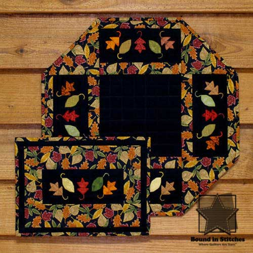 Jewels of Autumn Mini Quilt & Table Mat by MH Designs  |  Bound in Stitches