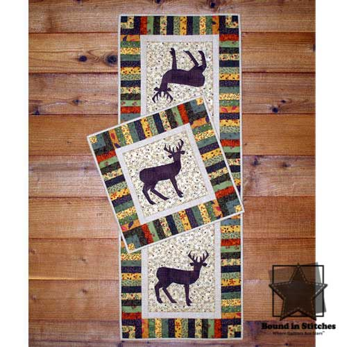 Lone Buck Wall Quilt & Table Runner by Mary Herschleb  |  Bound in Stitches