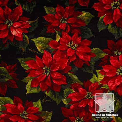 Scarlet Poinsettia by Michael Miller Fabrics  |  Bound in Stitches