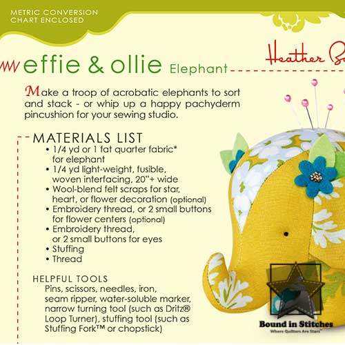 Effie & Ollie Elephant - Pattern back  |  Heather Bailey