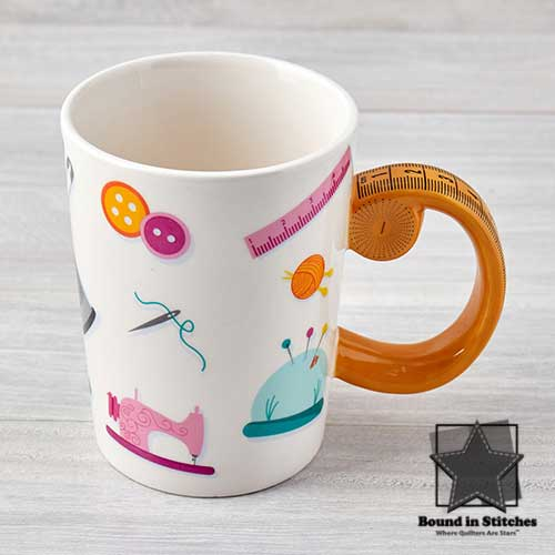 Tape Measure Sewing Mug  |  Bound in Stitches