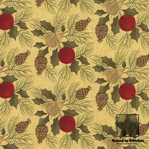 Pine Fresh 17772-14 Eggnog Pineneedles & Pinecones by Sandy Gervais  |  Bound in Stitches