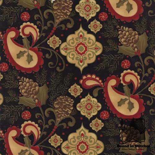 Pine Fresh 17771-11 Ebony Allover Paisley by Sandy Gervais  |  Bound in Stitches