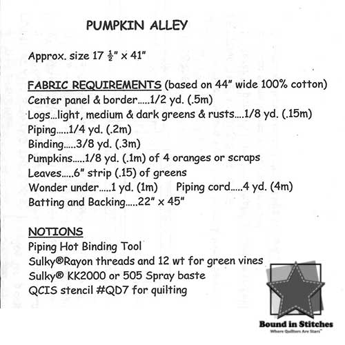 Pumpkin Alley Supply List  |  Bound in Stitches
