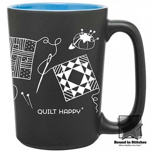 Quilt Happy Scribbles Mug - Blue  |  Bound in Stitches