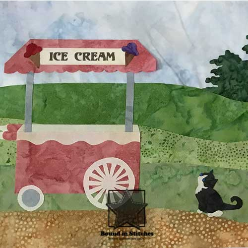Quilt Along Trail - Kitty with Ice Cream Cart  |  Bound in Stitches