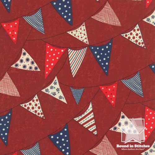Moda Red, White & Free 17805-13 Red Banner Flags  |  Bound in Stitches