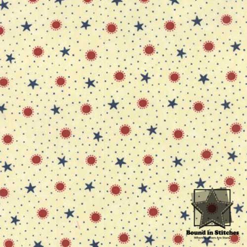 Moda Red, White & Free 17806-11 Cream Stars & Bursts  |  Bound in Stitches