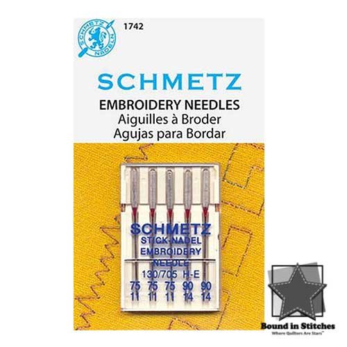 Schmetz Embroidery Machine Needles Assorted 75/11 and 90/14