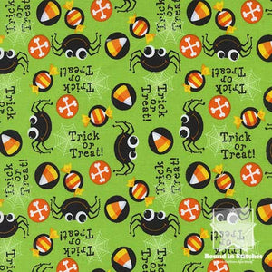 Trick or Treat Lime by Timeless Treasures | Bound in Stitches