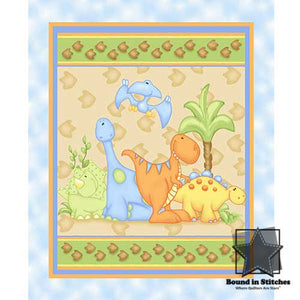 The Land Before Time Flannel Blue Panel by Shelly Comiskey  |  Bound in Stitches