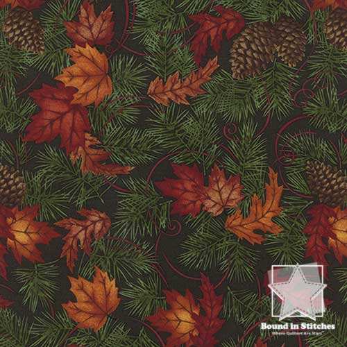 Moda Turning Leaves 6571-14 Green Fir  |  Holly Taylor