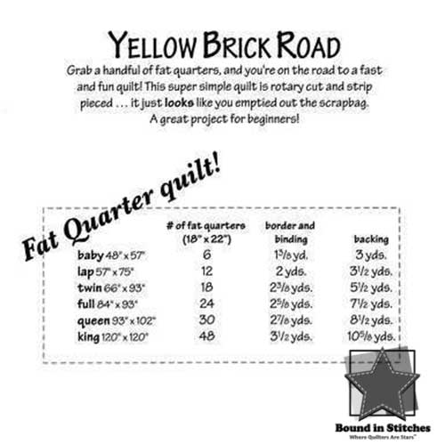 Yellow Brick Road Supplies Needed by Atkinson Designs