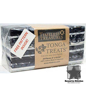 "Timeless Treasures Tonga Treats Ebony - 6"" Strips Bundle"