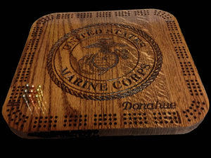 U.S. Marine Corps Insignia Cribbage Board. Personalized Gift Cribbage board. Continuous three Track. Engraved.