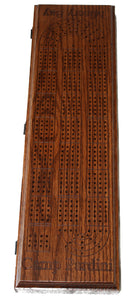 Custom Made Wood Cribbage Board. Continuous 4 track. Engraved.
