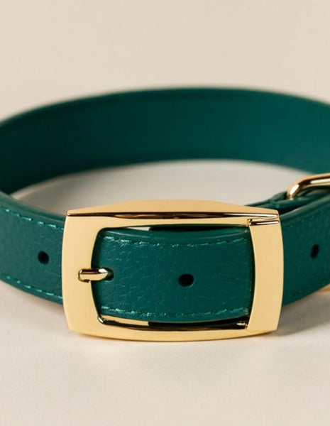 PUP LEATHER COLLAR // GREEN