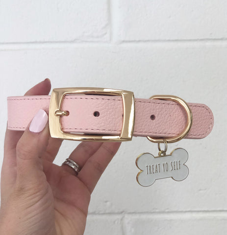 PUP LEATHER COLLAR //  BABY PINK